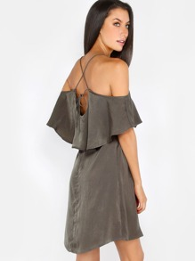 Silky Strappy Ruffle Dress OLIVE