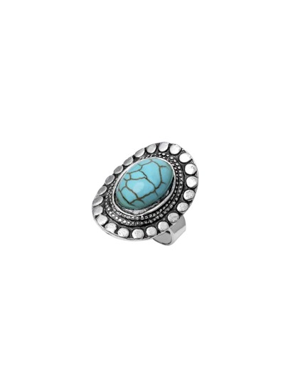 Antique Silver Turquoise Embellished Ring
