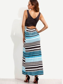 Striped Wrap Back Cut Out Tank Dress