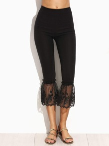 Black Embroidered Lace Hem Skinny Leggings