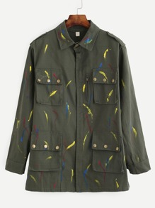 Olive Green Brush Stroke Print Multi Pocket Outwear