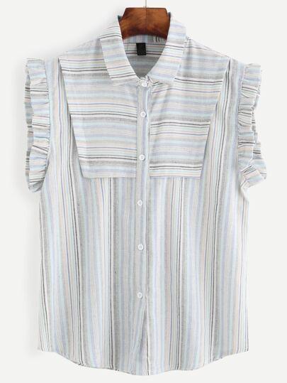 Striped Buttons Ruffle Sleeveless Blouse