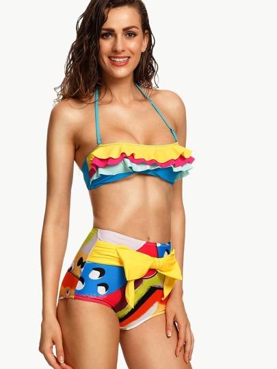 Multicolor Ruffled Layered Halter Bikini Set