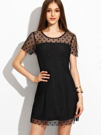 Black Polka Dot Mesh A Line Dress