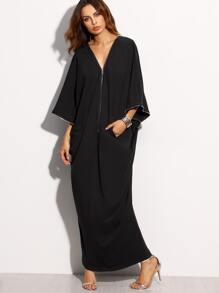 Black Zipper Pocket Three Quarter Sleeve Long Dress