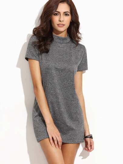 Grey Mock Neck Marled Dress