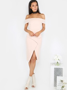 Off the Shoulder Pleated Dress PEACH