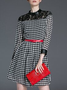 Black White Argyle Belted A-Line Dress