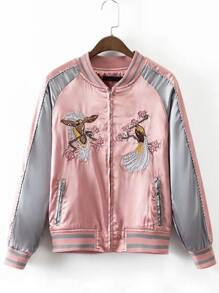 Pink Crew Neck Embroidery Pocket Jacket