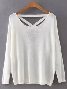 White Criss Cross Back Knitwear