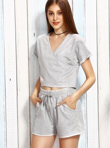 Heather Grey Surplice T-shirt With Drawstring Shorts