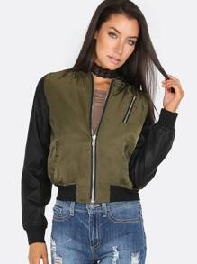 Faux Leather Sleeve Bomber Jacket OLIVE