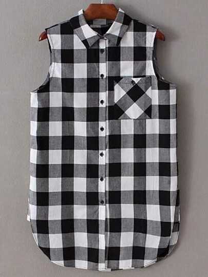 Black And White Plaid Buttons Blouse