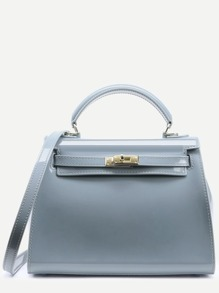 Turnlock Trapezoidal Handbag With Strap