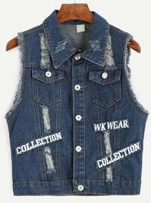 Blue Letter Print Patch Detail Frayed Denim Jacket