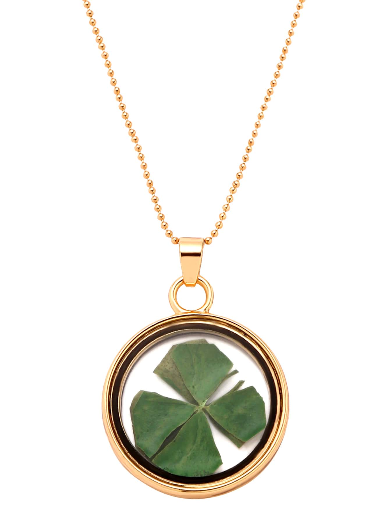 Gold Glass Pendant With Dried Clover NecklaceGold Glass Pendant With Dried Clover Necklace<br><br>color: None<br>size: None