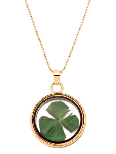 Gold Glass Pendant With Dried Clover Necklace