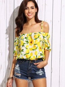 Yellow Cold Shoulder Lemon Print Blouse