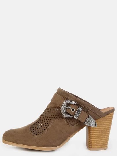 Western Inspired Stacked Heel Mules KHAKI