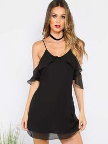 Black Spaghetti Strap Cold Shoulder V Back Dress