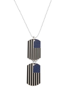Silver Enamel Black Stripe USA Flag Pendant Necklace