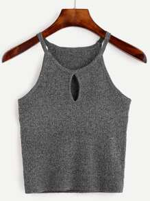 Grey Keyhole Front Marled Cami Top