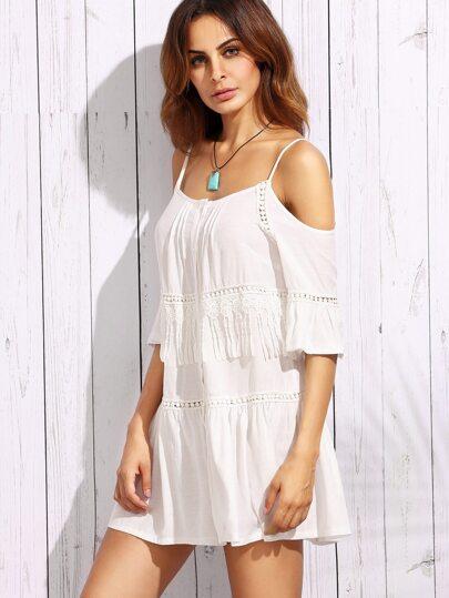 White Dotted Crochet Insert Cold Shoulder Dress