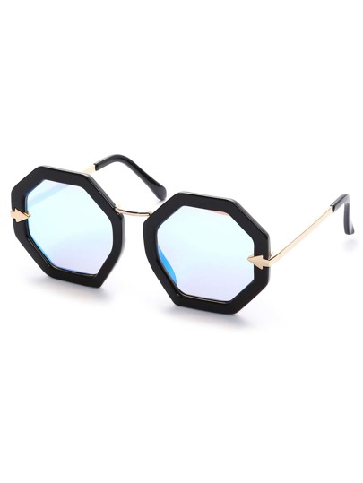 Black Hexagon Frame Blue Lens Sunglasses