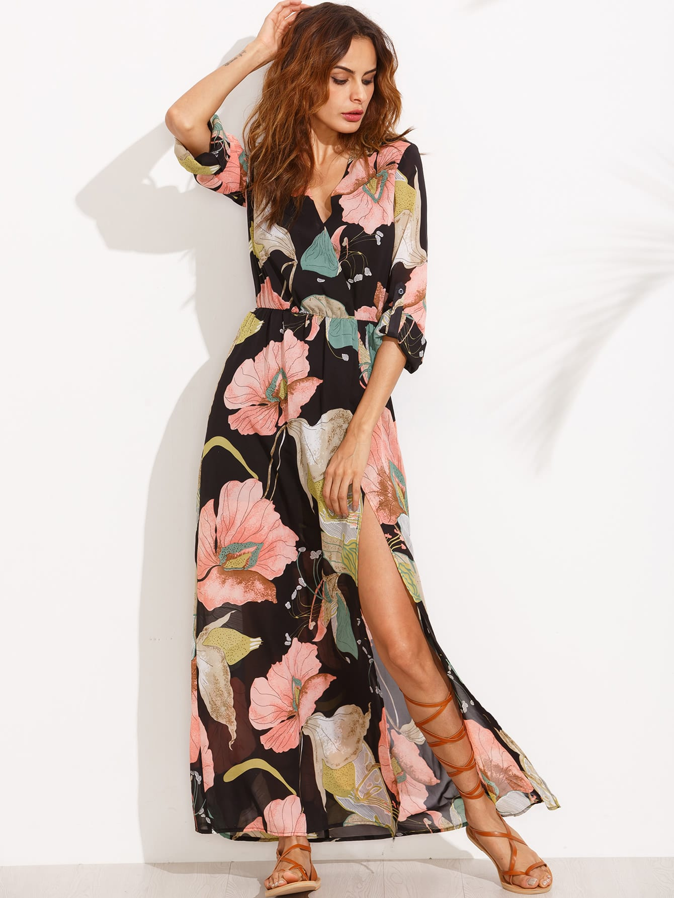 Floral Print Plunge Surplice Split Full Length Dress pocket open shoulder split full length dress