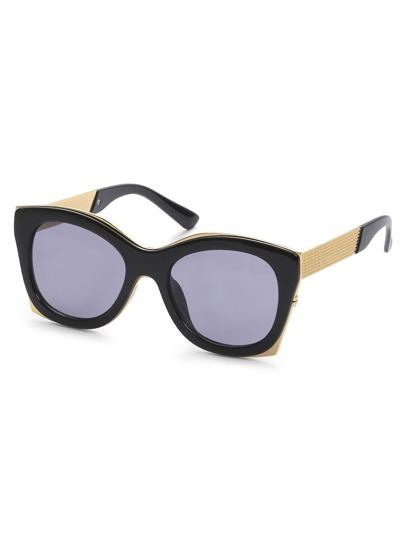 Black Cat Eye Frame Grey Reflective Lenses Sunglasses