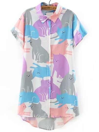 Multicolor Cat Print Shirt Dress