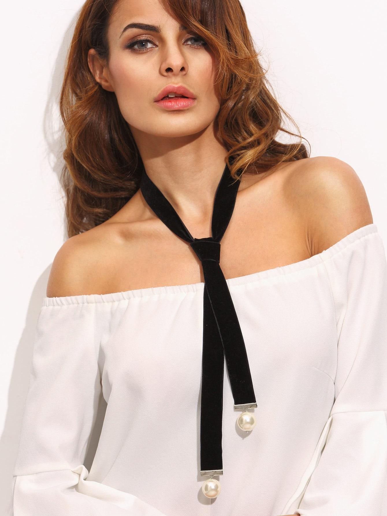 Black Faux Pearl Embellished Velvet Neck Tie