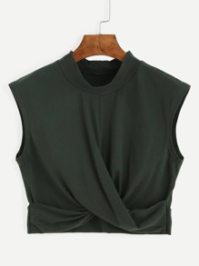 Top escote mock crop tank - verde oliva