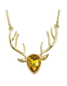 Yellow Rhinestone Deer Pendant Necklace