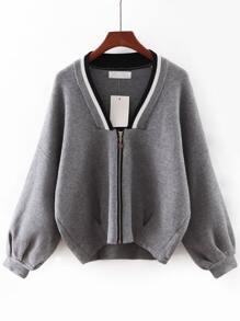 Grey V Neck Zipper Front Sweater