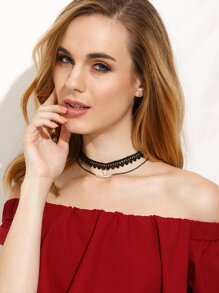 Black Lace Zircon Choker With Metal Chain