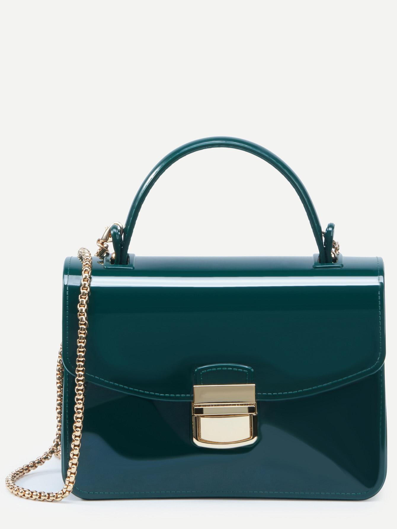 Green Pushlock Closure Plastic Handbag With Chain