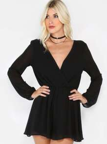 Long Sleeve Surplice Romper BLACK