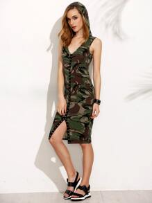 Camouflage V Neck Hooded Sleeveless Sheath Dress