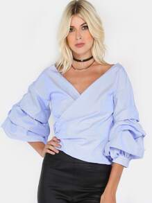 Puffy Sleeve Checkered Crop Top BABY BLUE