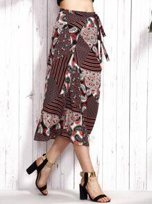 Multicolor Patchwork Print Wrap Skirt
