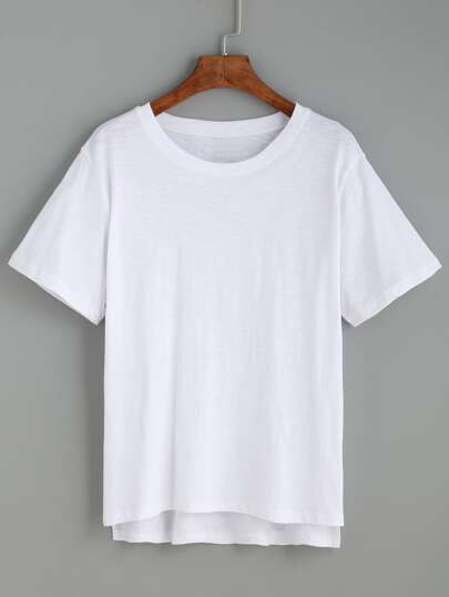 Camiseta asimétrica casual - blanco