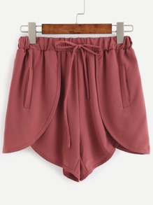 Brick Red Elastic Waist Wrap Shorts