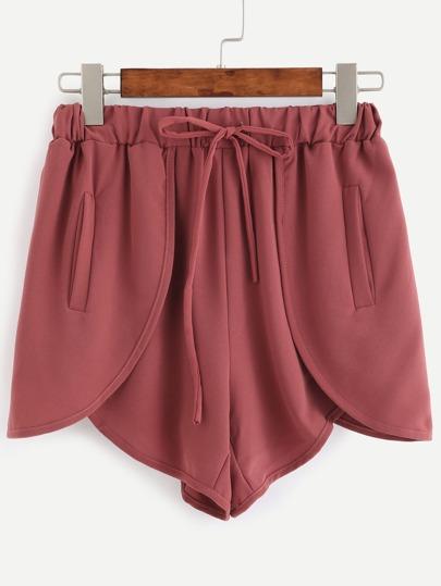 Shorts cintura elástico cruce - rojo