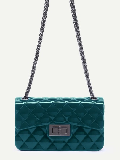 Green Plastic Quilted Flap Bag With Chain
