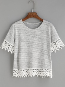 Heather Grey Crochet Trim T-shirt