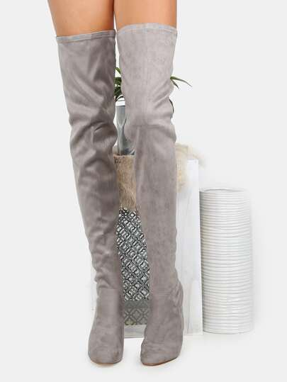 square toe faux suede thigh high boots grey shein sheinside