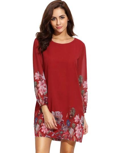 Flower Print Lantern Sleeve Chiffon Dress