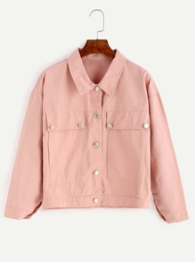 Pink Drop Shoulder Flap Pocket Front Jacket