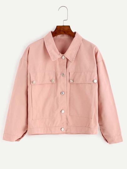 Pink Drop Shoulder Flap Pocket Front Jacket